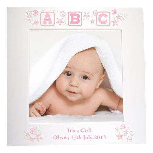 Personalised Pink ABC White 6x4 Frame
